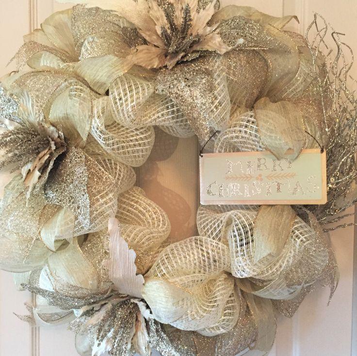 Ivory platinum gold metallic christmas wreath poinsettia for 5ft poinsettia garland christmas decoration