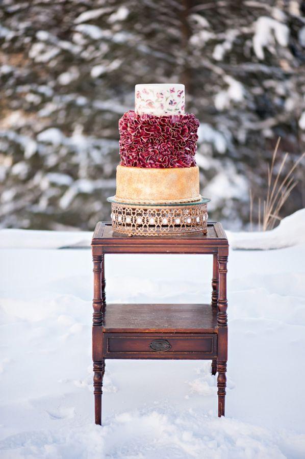 Crimson and Gold Modern Wedding Cake | photography by http://brookebakken.com