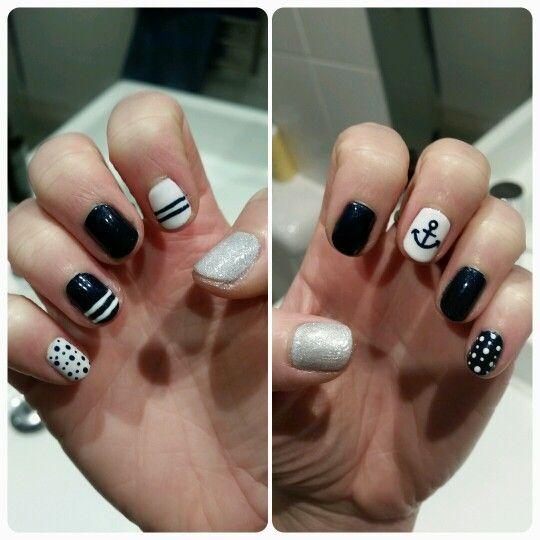Navy and white coastal nails #handpaintedonmyself #freehand