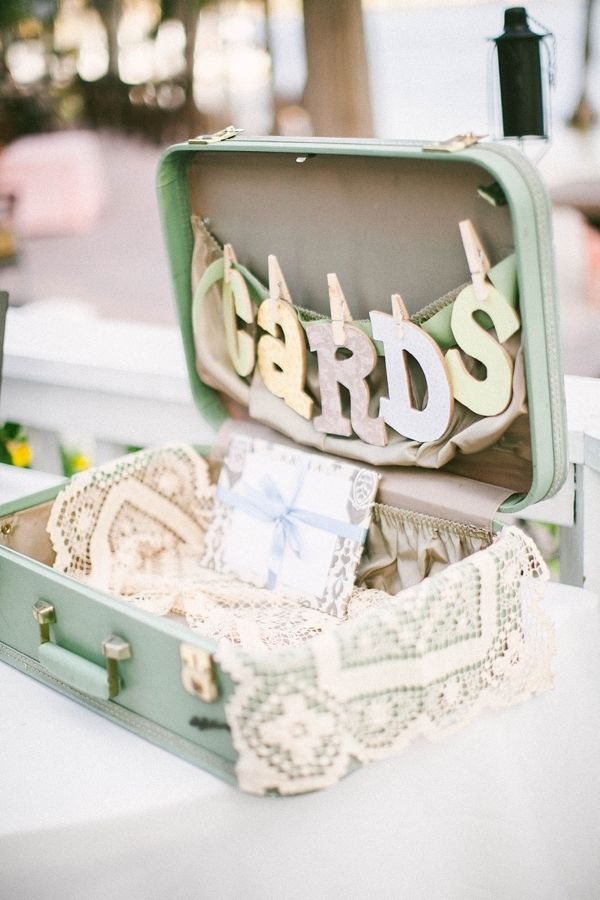 suitcase for cards and wedding gifts // but not so pastel/girly. Travel theme?