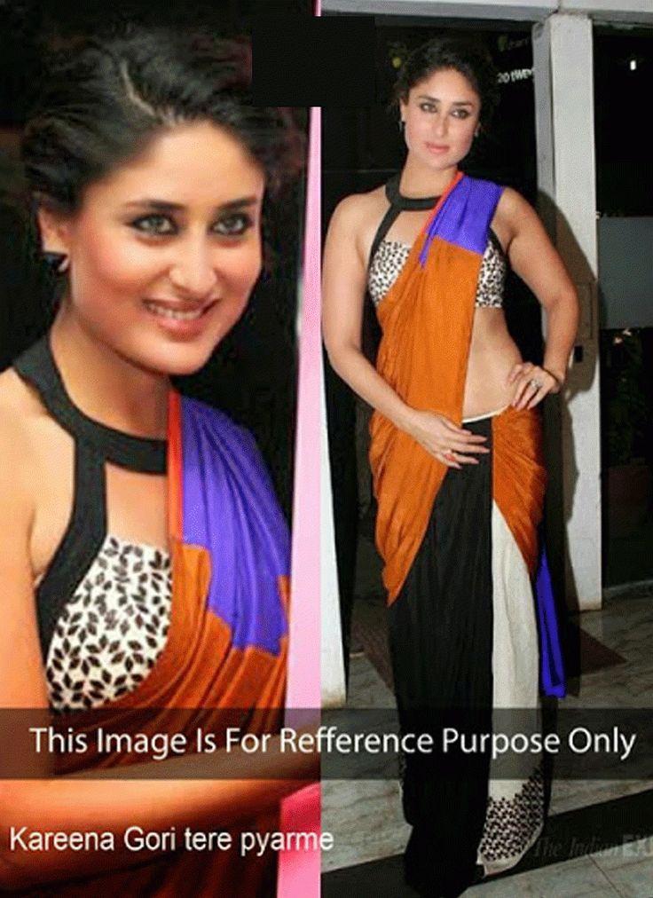 Kareena Kapoor Pink & White Silk Saree
