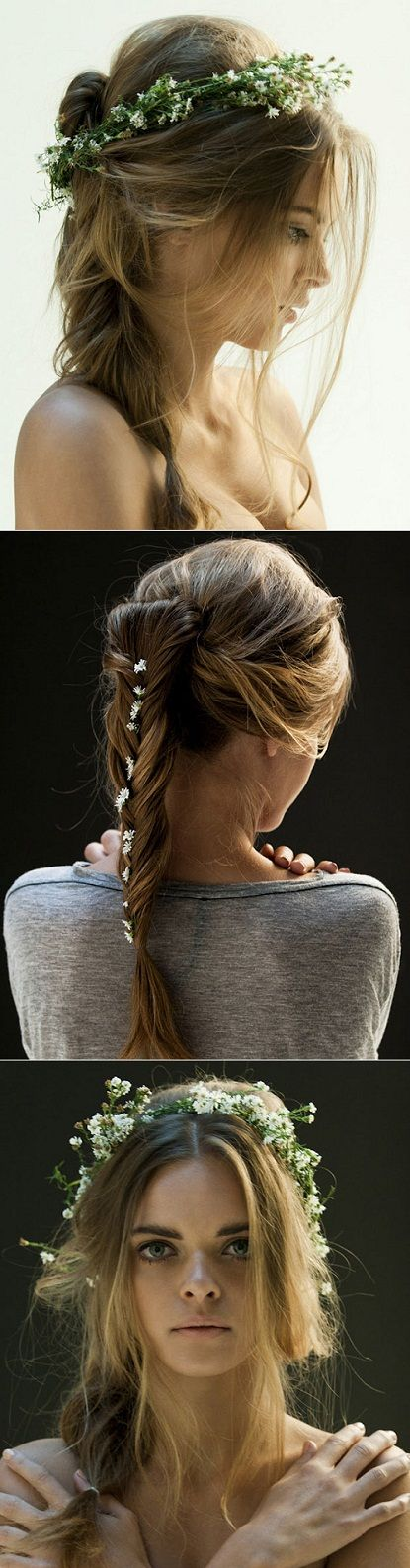 flowers in hair: Hair Ideas, Summer Hair, Long Hair, Fishtail Braids, Hair Style, Wedding Hairstyles, Ponies Tail, Braids Hair, Little Flowers