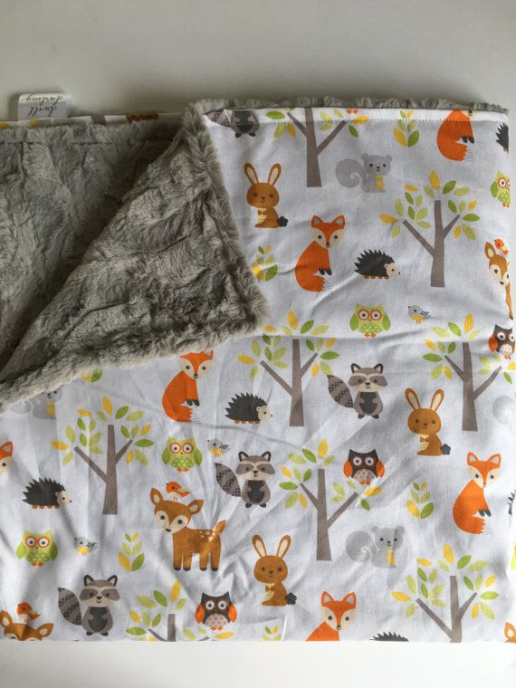 Woodland Forest Animal Baby Blanket fox Baby by DwellDarling