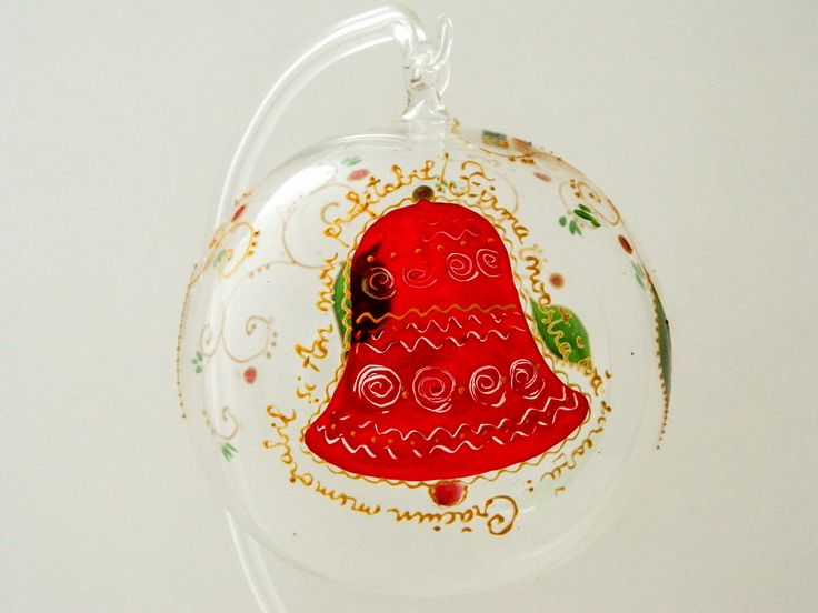 Elegant red Christmas bell hand painted on a glass Christmas ball.
