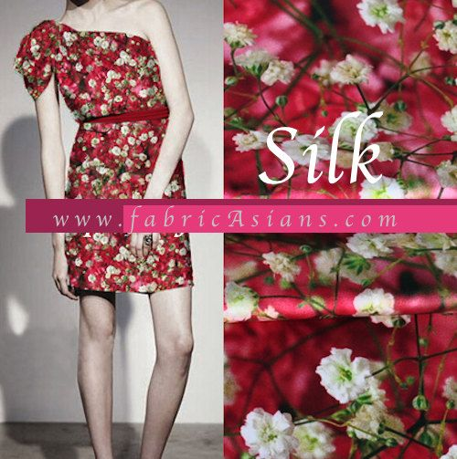 One shoulder tunic dress. in red Babysbreath printed silk. Stretch silk fabric by fabricAsians