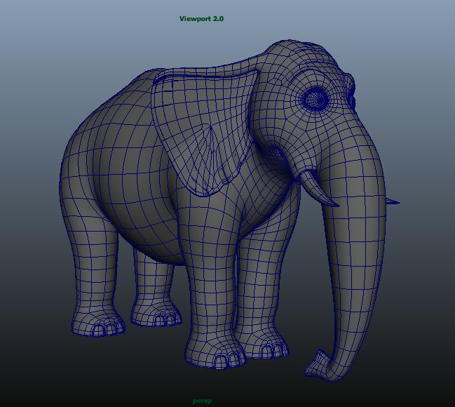 Elephant wireframe perspective view