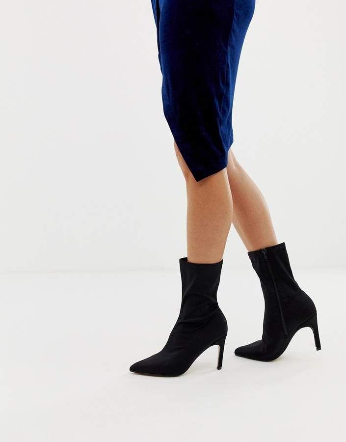Prettylittlething Kitten Heel Sock Boot In Black Heel Kitten Prettylittlething Socks And Heels Sock Ankle Boots Platform Block Heels