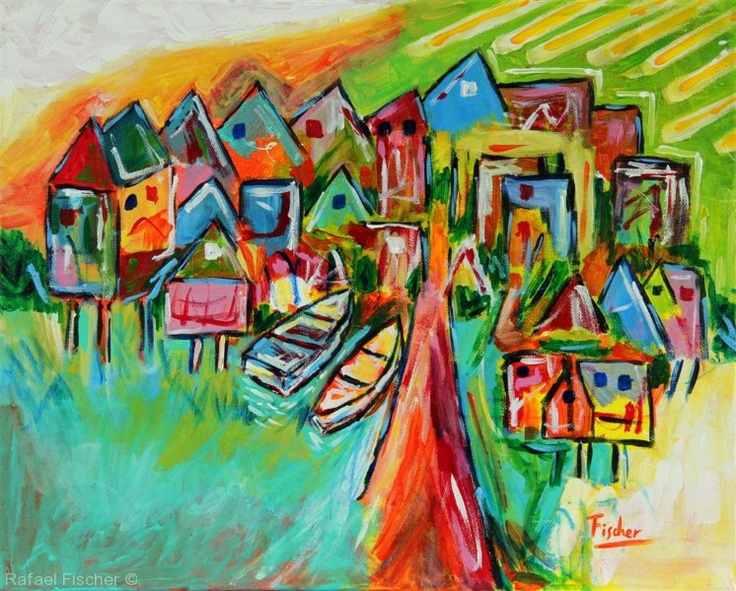Palafites in Greater Island of Chiloé #art #painting #rafael #fischer