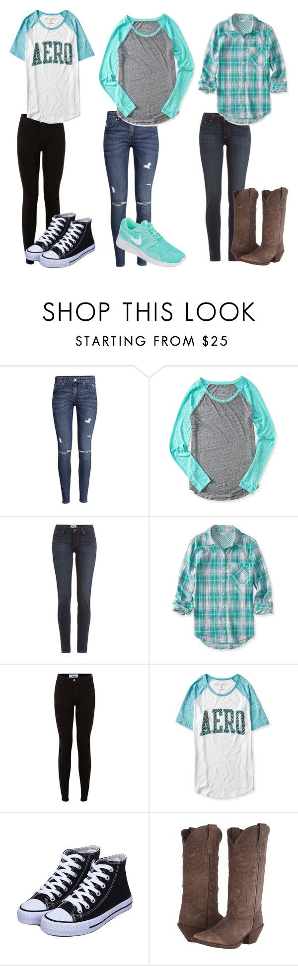 """Aeropostale - 3 Outfits"" by kirracat123 ❤ liked on Polyvore featuring H&M, Aéropostale, Paige Denim, New Look, Durango, NIKE, beoriginal and aeropostale"