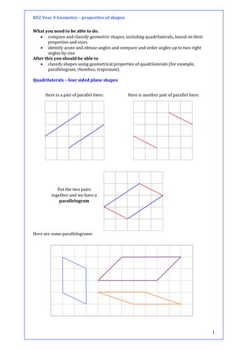 34 best free maths stuff for all ages images on pinterest free maths year 4 properties of shapes quadrilaterals lots of activity presentation ccuart Choice Image