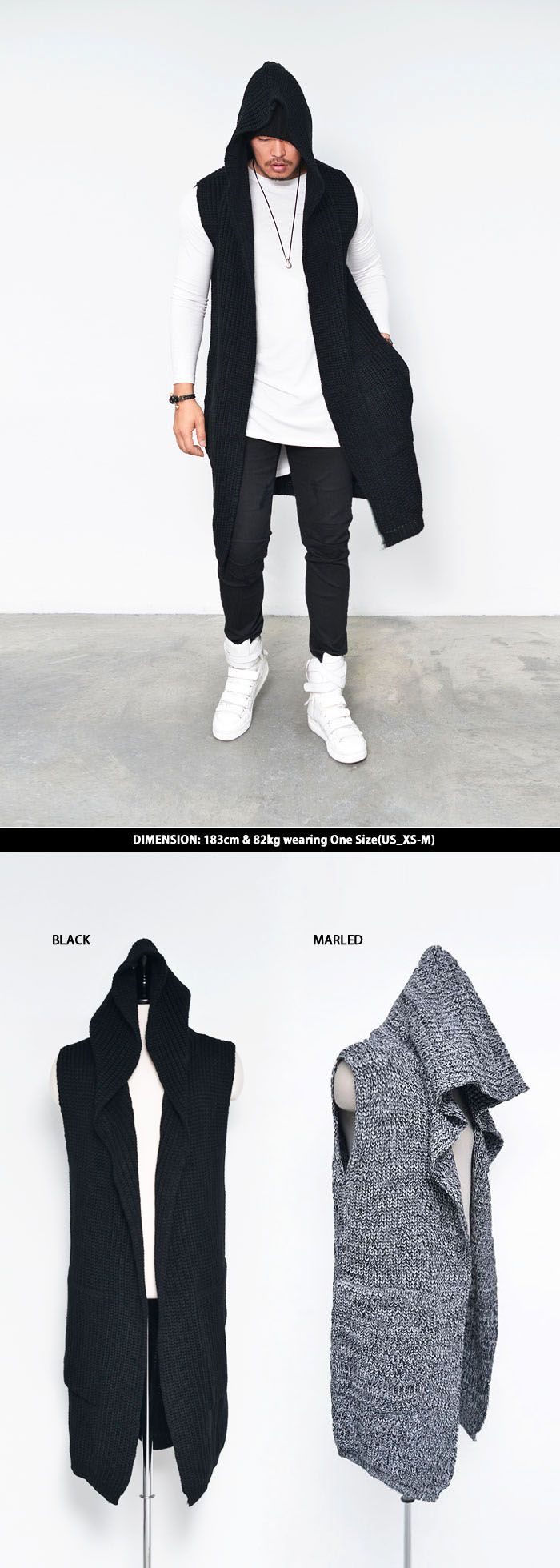 Tops :: Hoodies :: Chunky Knit Hooded Long Sleeveless Cardigan-Vest 109 - Mens Fashion Clothing For An Attractive Guy Look