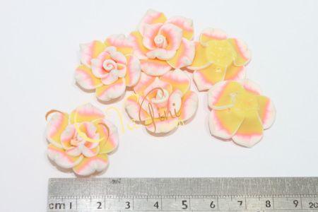 Aplikasi Clay Bunga Tanggung 3cm - Pink Kuning - yagini.com - 085641416429 - 3