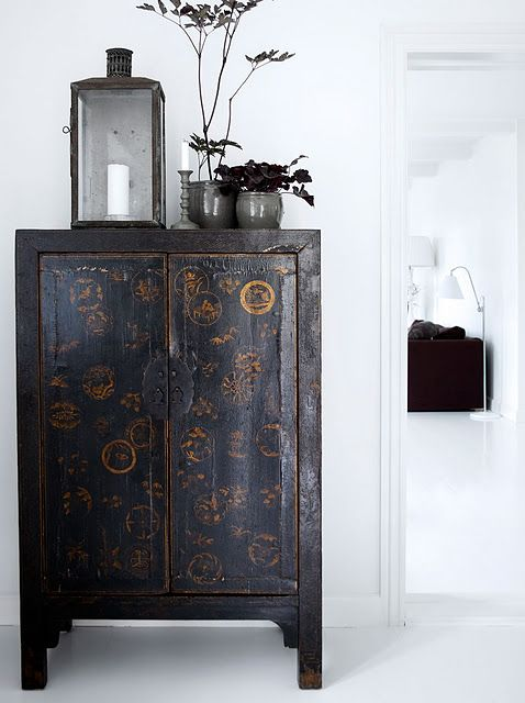 asian cabinets are wonderful in any setting...modern, traditional, neutral, highly coloured...it looks great everywhere