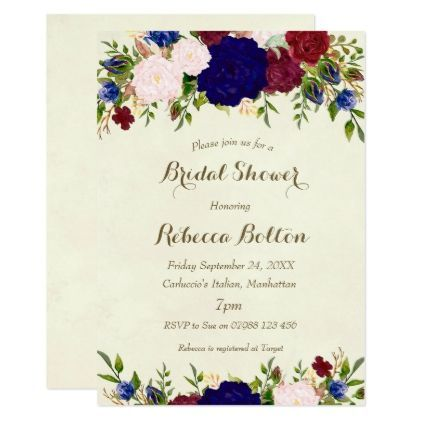 navy marsala wine bridal shower invitation floral - bridal shower gifts ideas wedding bride