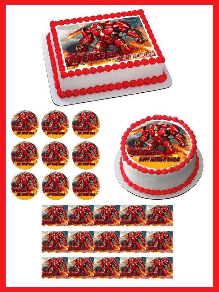 Iron Man Hulkbuster Edible Birthday Cake Topper OR Cupcake Topper, Decor…