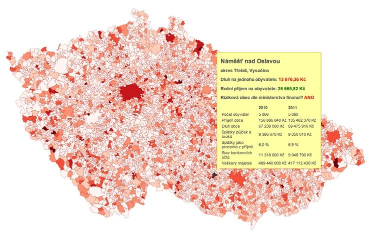 Mapa dluhů všech 6 246 obecních úřadů. Hrozí vašemu městu či vesnici krach?  http://data.blog.ihned.cz/c1-58868120-mapa-dluhu
