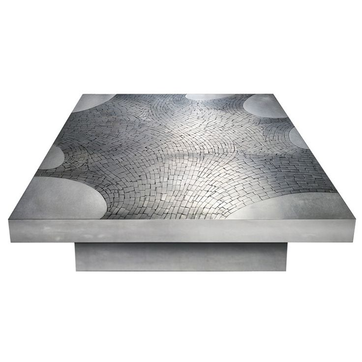 A Square Stainless Steel Coffee Table Top With Stainless Steel Mosaic Inset Resting On A Stainless Steel Base By Jean Claude Dresse Belgium Signed Dresse
