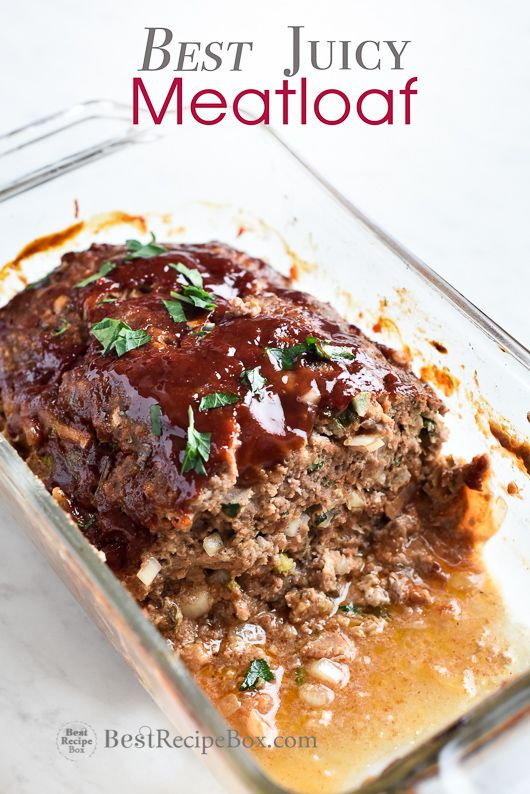 Best meatloaf recipe ever! This meatloaf is juicy, moist and flavorful. Easy Recipe for meatloaf with ground beef, ground pork or ground turkey