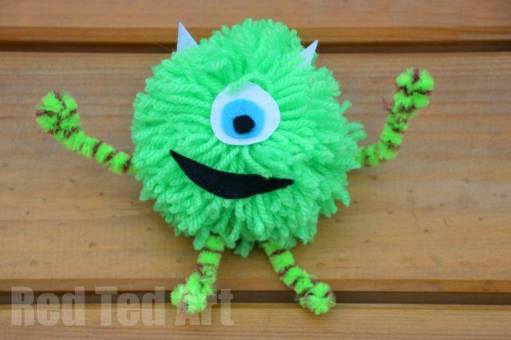Monsters Inc Craft: Mike Pom Pom - Red Ted Art's Blog