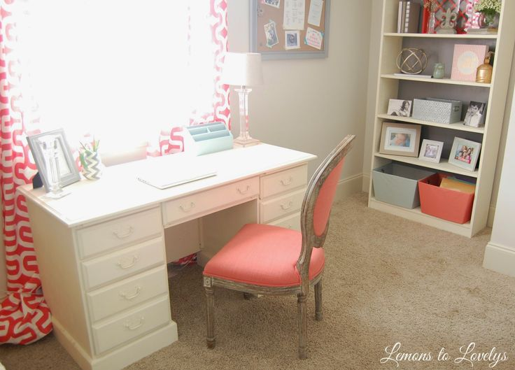Office: coral and different shades of blue. Old White desk and shelf by ASCP, World Market Chair, Hobby Lobby fabric for curtains, various accessories on shelf. Tap picture to see more sources and photos