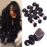 Klaiyi Brazilian Hair Body Wave Virgin Human Hair 3Bundles with 1pc Lace Closure