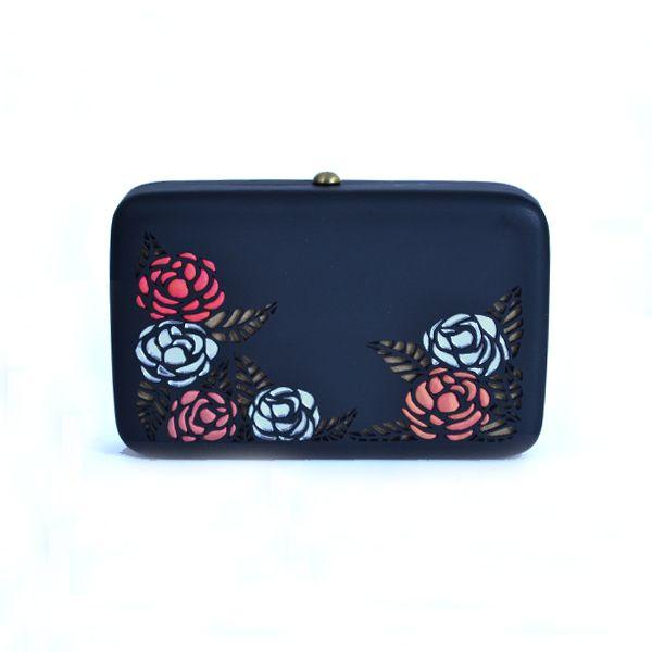 Rosa (black) clutch - #rachanareddy #bag #clutch #woodenclutch #wood #fashion #art #design #designer #elegant #roses #flowers #etching #carving Shop here: www.rachanareddy.com