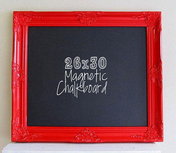 RED FRAMED CHALKBOARD Magnetic Red and Black by ShugabeeLane