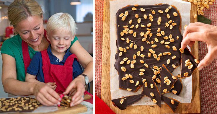 Knäckbräck med jordnötter och choklad – recept