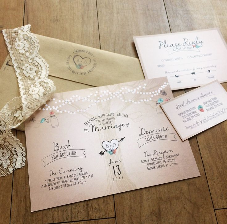 Rustic romantic wedding invitations and RSVPs