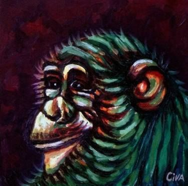 "Saatchi Art Artist Dan Civa; Painting, ""Chimpanzee portrait (chimp 9)"" #art"