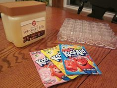 Homemade Lip Gloss using Kool-Aid - Have to say ... had a tea party & the 9 & 10 year-olds did this with my 20-year-old daughter. They took them home as party favors & LOVED them! Super fun!