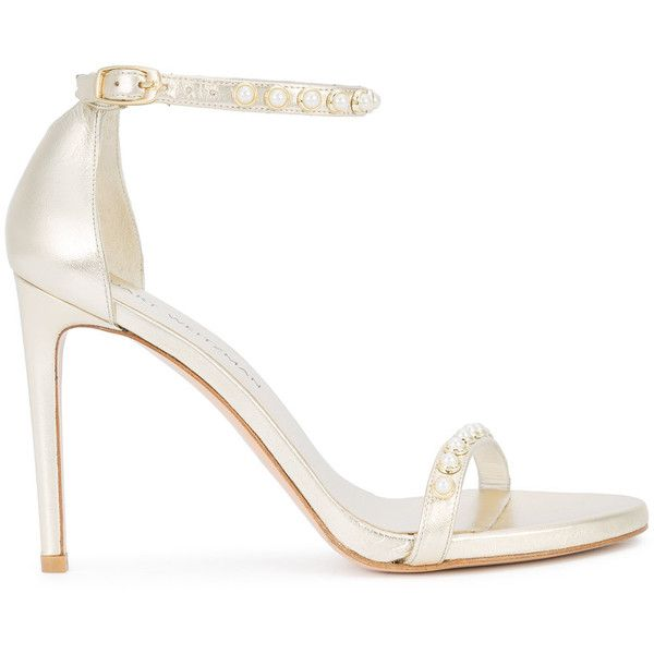 Stuart Weitzman Nudist pearl sandals (€380) ❤ liked on Polyvore featuring shoes, sandals, grey, stuart weitzman shoes, gray shoes, stuart weitzman sandals, metallic shoes and grey sandals