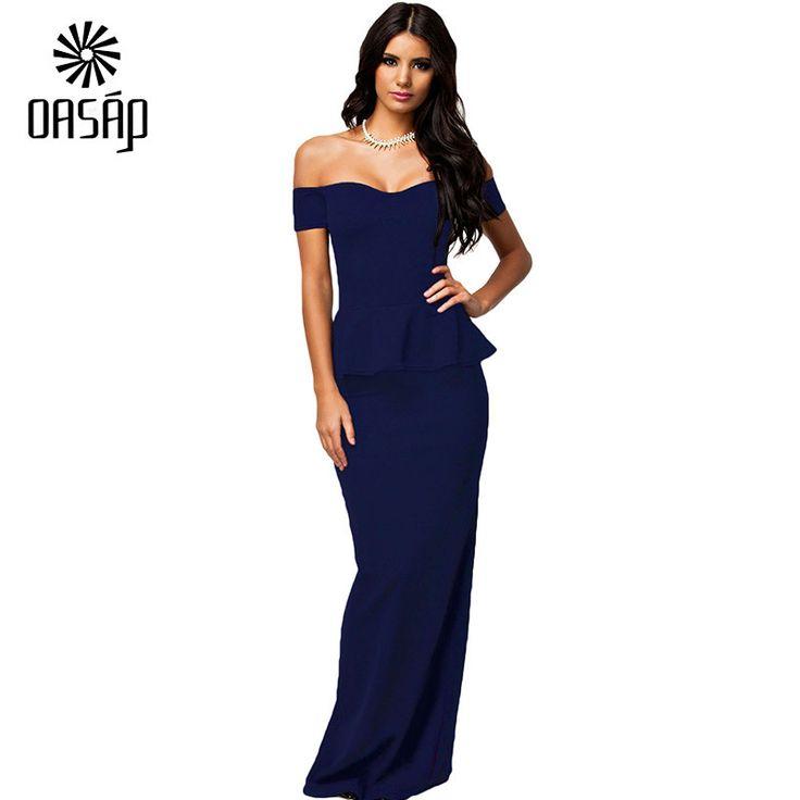 OASAP New Arrival Fashion Women Sexy Black Peplum Long Dress With Drop Shoulder Club Cocktail Formal Summer Dress-40704