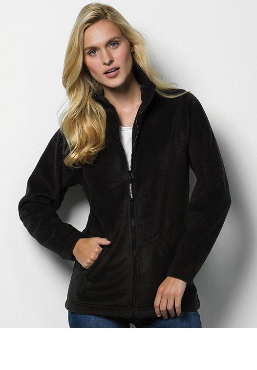 Giacca Donna in pile modellata con Zip firmata e Colletto Nera o blu XS S M L XL