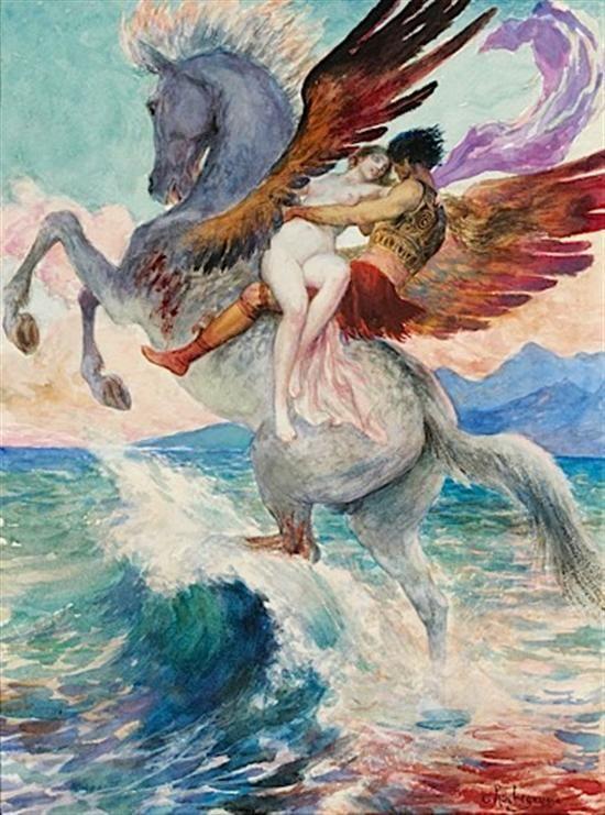 Georges Antoine Rochegrosse - Perseus and Andromeda. Tags: perseus, andromeda, pegasus, pegasos,