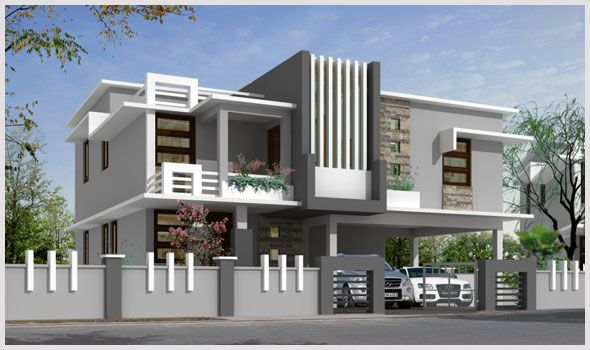 Compound wall and gate designs for contemporary google for House architecture styles in india