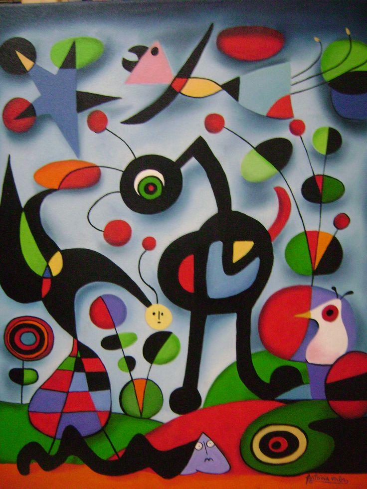 "artista Patricia Valor ""Homenaje a Miro"" oleo 50 x 60 cm"