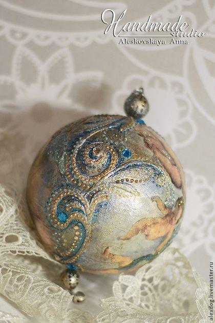 """Купить Новогодний шар """"Ангелы"""" - голубой, новый год 2015, новогодний сувенир…"""