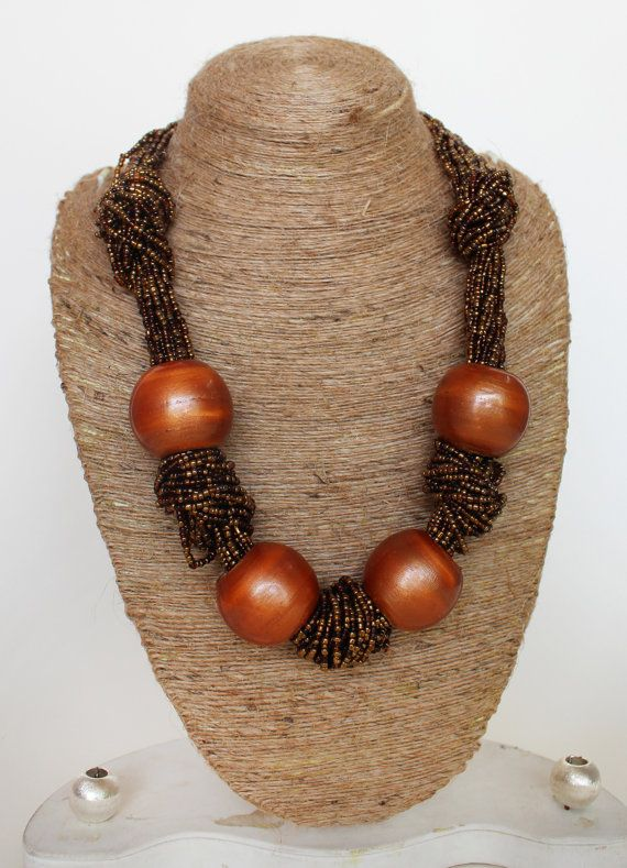 Bronze Necklace/ Knot Necklace/ Beaded Necklace/ Chunky Necklace/ Handmade Jewelry/ Statement Necklace/ Bohemian Necklace on Etsy, $25.00