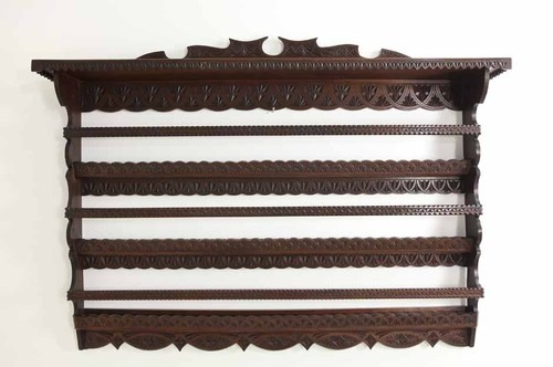Antique Scottish Walnut Chip Carved Plate Rack Wall