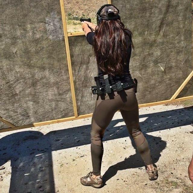 Girl shooting in yoga pants