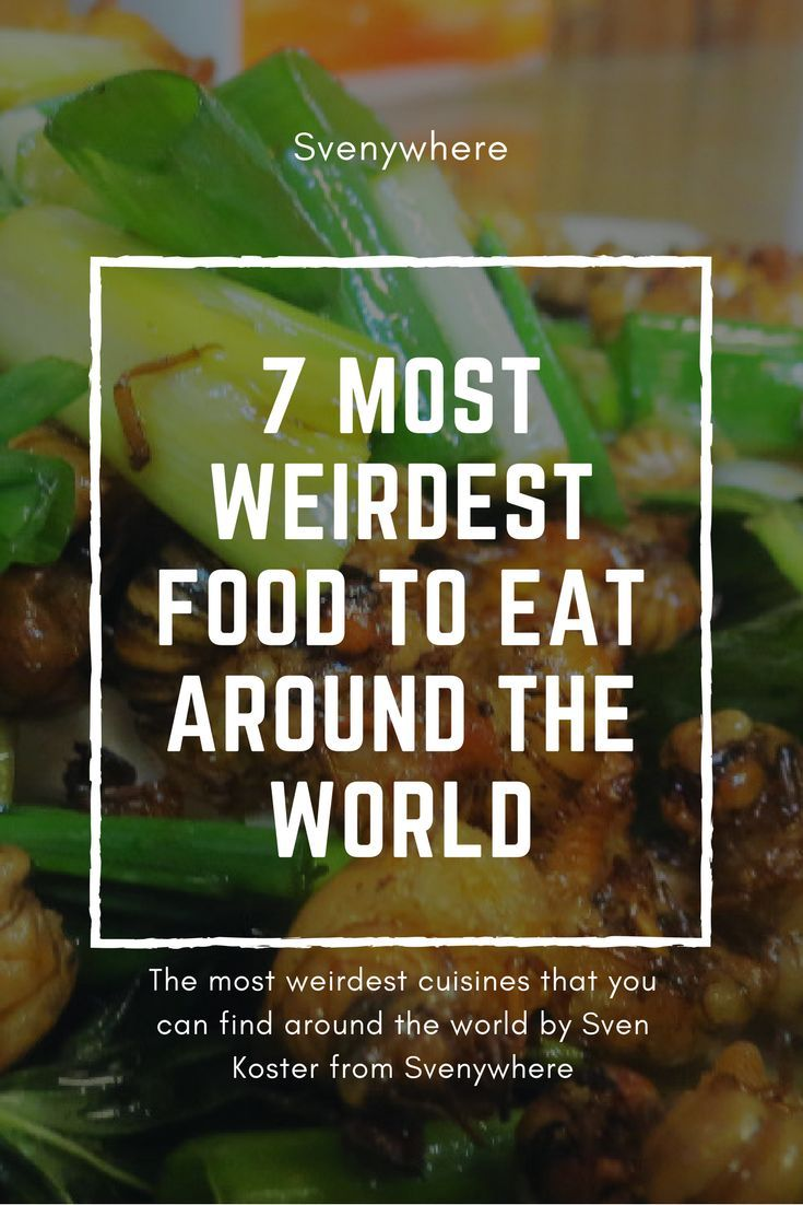 Weirdest food YOU can eat around the world. What cuisine, dish, or street food do you want to eat on your next travel trip? Get here amazing local food tips for your next crazy, weird, absurd things that you can eat around the world. From Asia, till South-America till Africa. Weird snacks are present everywhere around the world. Don't forget to repin.