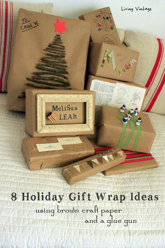 8 holiday gift wrap ideas using a glue gun and basic kraft paper.