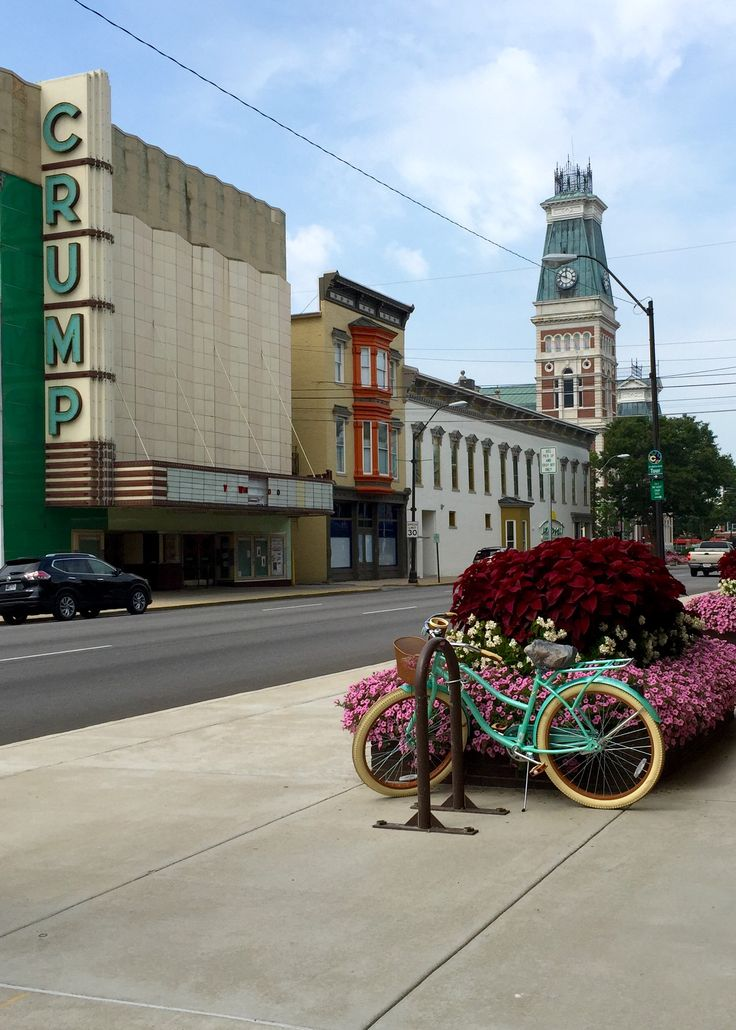 The bike, The Crump, The Courthouse - Third Street, Columbus, Indiana   photo by Yvette Kuhlman