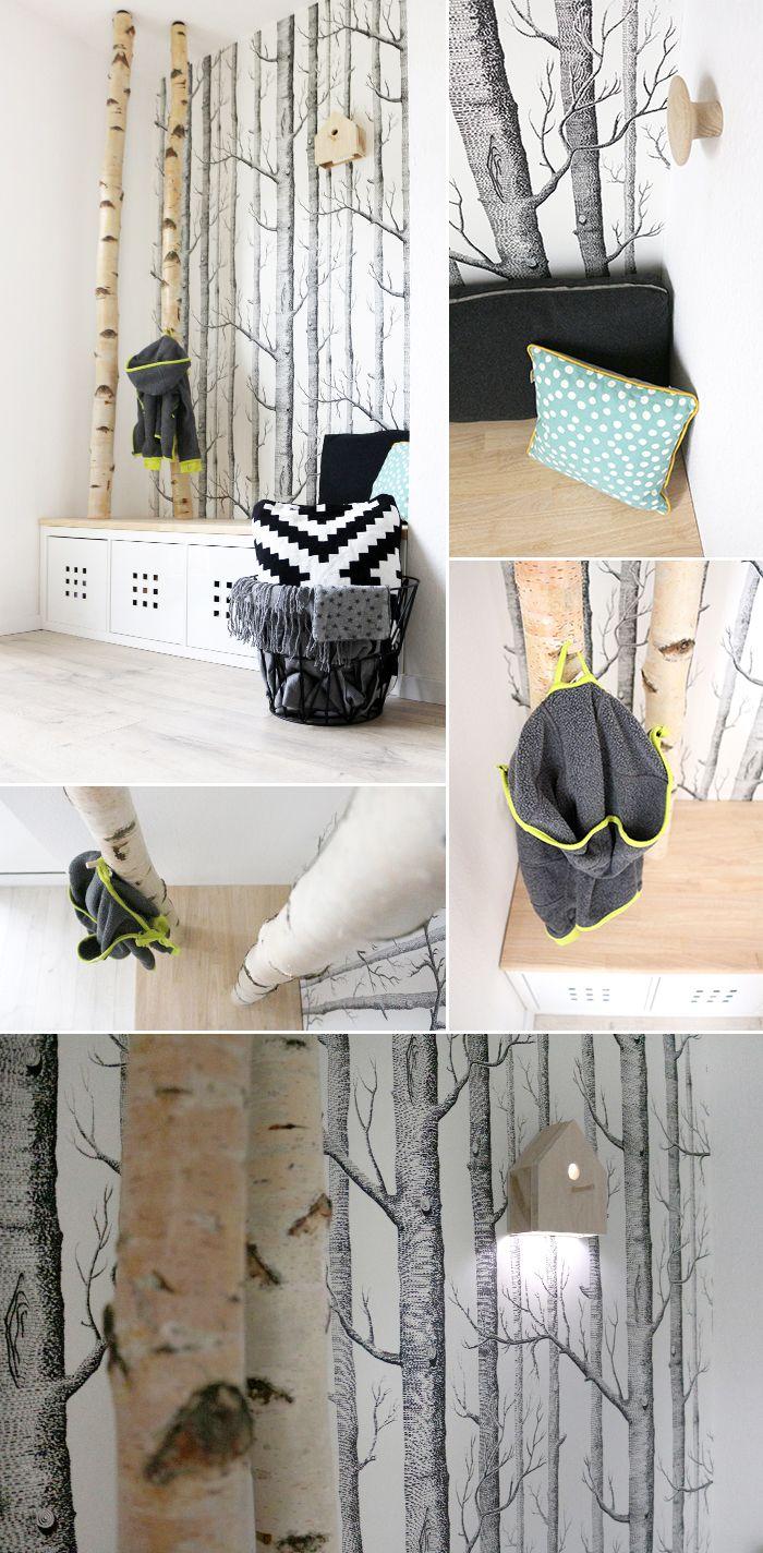 DIY & Interior: Dani von Gingered Things zeigt ihre neue Garderobe mit Birkenstämmen. hallway, entry way, birch, wood, nook,