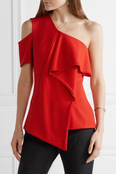 Jason Wu - Asymmetric Chiffon-trimmed Crepe Top - Red - US10