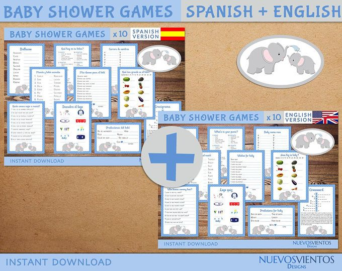 instant download. ELEPHANT theme Spanish and english baby shower game set printable