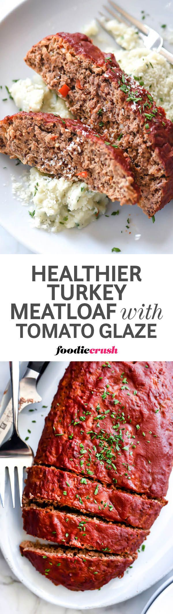 This lightened up turkey and beef blended meatloaf adds quinoa and Greek yogurt to the mix to keep all the classic flavors intact but lightens it's caloric load thanks to a few easy ingredient swaps no one will ever notice | foodiecrush.com