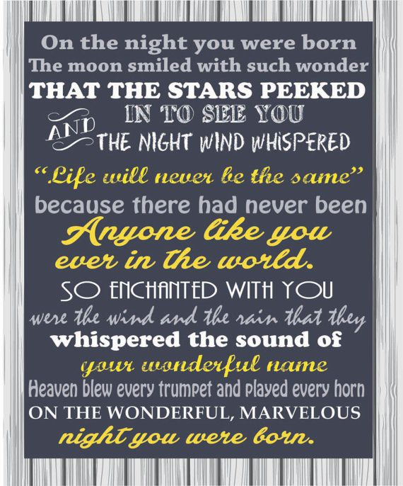 On The Night You Were Born By Dvinedesignstudio On Etsy