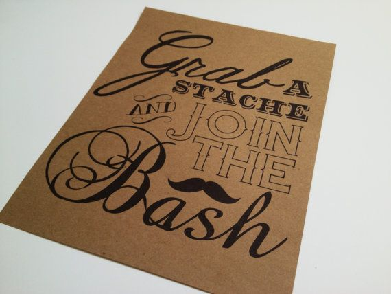 Instant Download - Photo Booth Sign - Grab a Stache - Mustache Photo Booth - Photo Booth Props